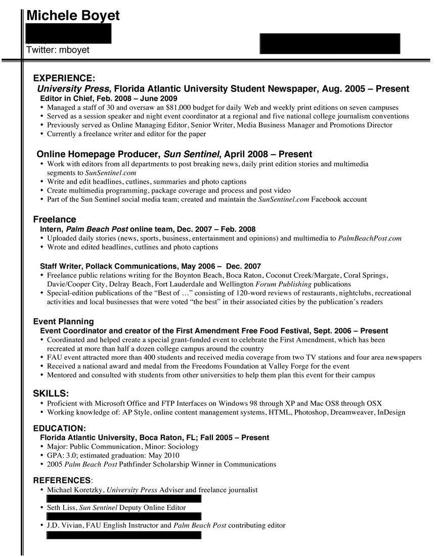 Resume for journalism student
