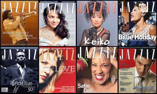 Eight JAZZIZ magazine covers from the past.
