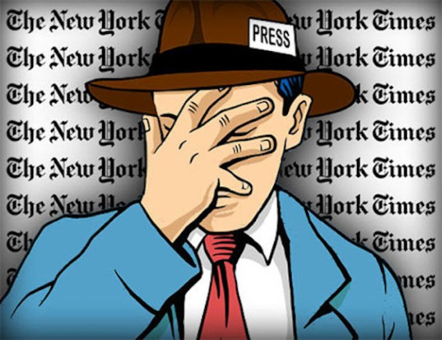Illustration of New York Times reporter with his hand over his face.