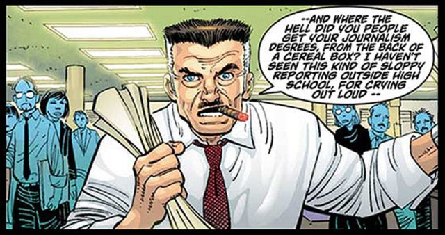 Panel from a Spiderman comic showing J. Jonah Jameson complaining about his staff sucking