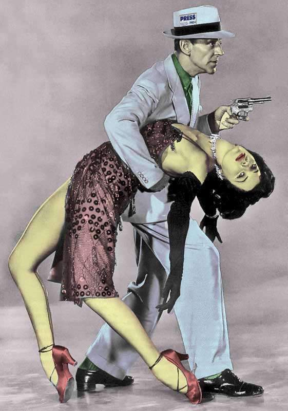 Fred Astair as a gangster, with pistol and holding a woman.
