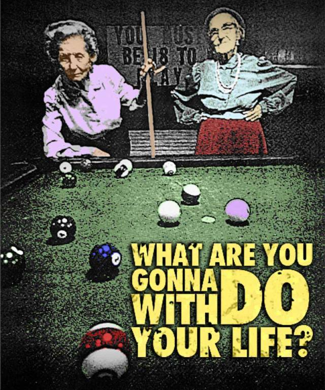 An illustration of two old ladies playing pool