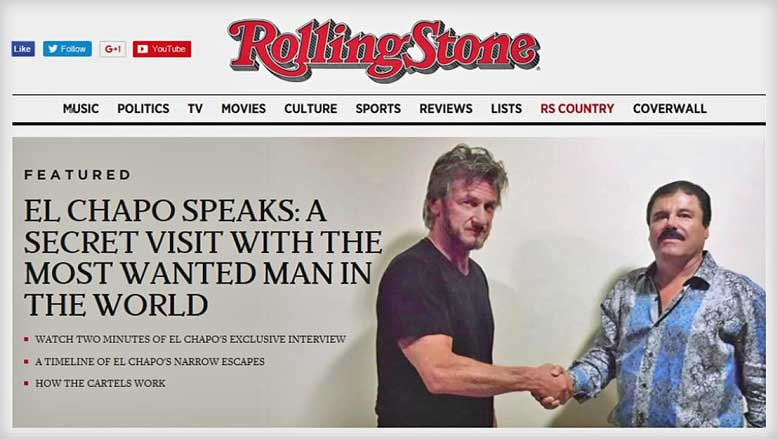 Screenshot of Rolling Stone's homepage showing Sean Penn with El Chapo