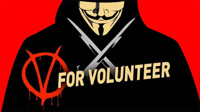 An illustration of V for Vendetta altered to V for Volunteer