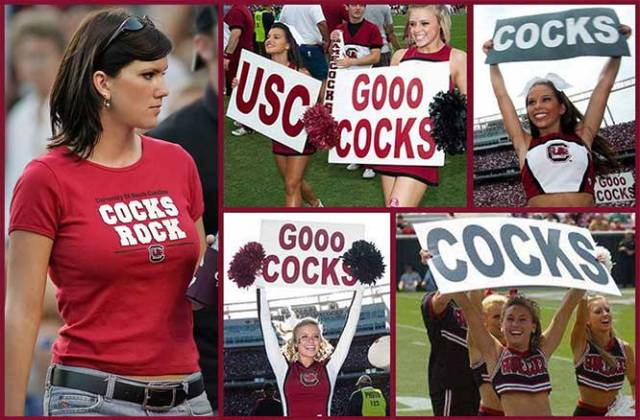 "A collage of photos of young women holding up signs that say, ""Gooo Cocks."""