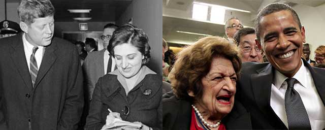 Split photo of Helen Thomas with JFK and with Obama decades later.