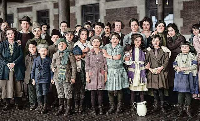 Immigrants at Ellis Island in the 1920s.