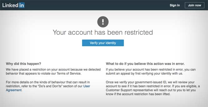 LinkedIn notice of Michael Koretzky's account being restricted