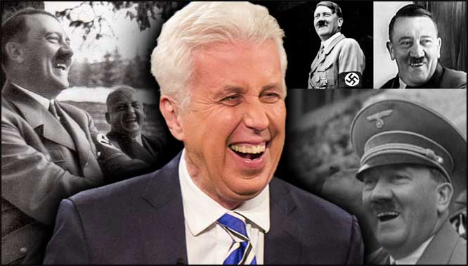 Photo of Jeffrey Lord over collage of Hitler photos