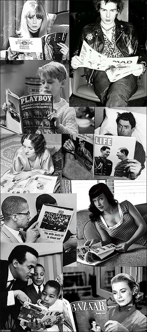 collage of celebrities reading magazines
