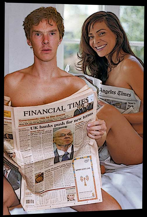 Naked couple in bed reading newspapers