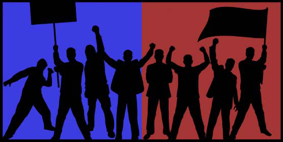 Illustration of red and blue protesters