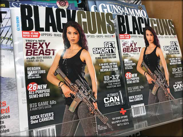 Cover of Black Guns magazine on the grocery store magazine rack