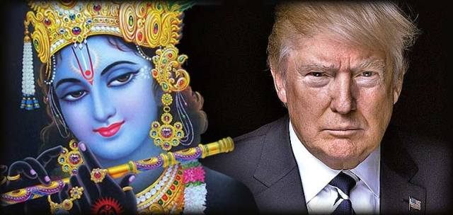 Image of Krishna next to Donald Trump