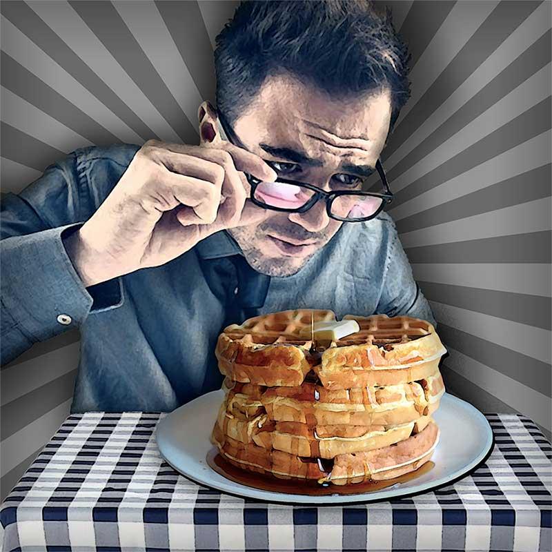 Illustration of a New York elitist studying pancakes