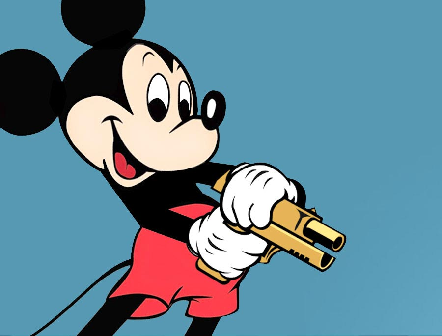 Mickey Mouse with golden gun
